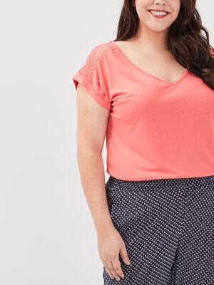 T shirt grande taille orange corail femme