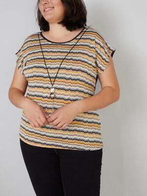 T shirt imprime bijou integre jaune moutarde femmegt