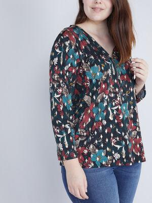 T shirt imprime zip au col noir femmegt