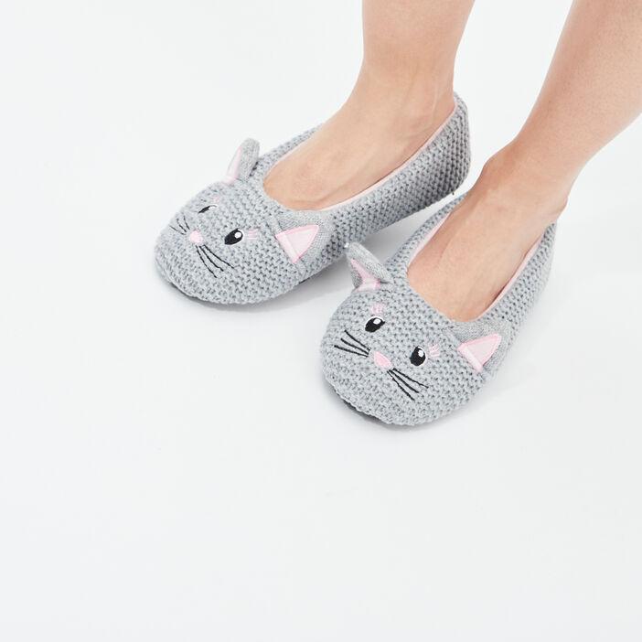 Chaussons ballerines femme gris
